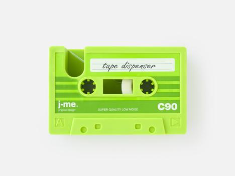 cassette-tape tape-dispenser green designed for j-me