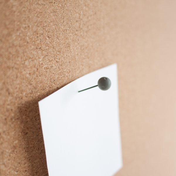The Moon concrete push-pin by Duncan Shotton in use on a corkboard