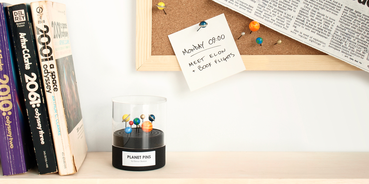 Planet Pins & The Moon (concrete push pin) | Stationery