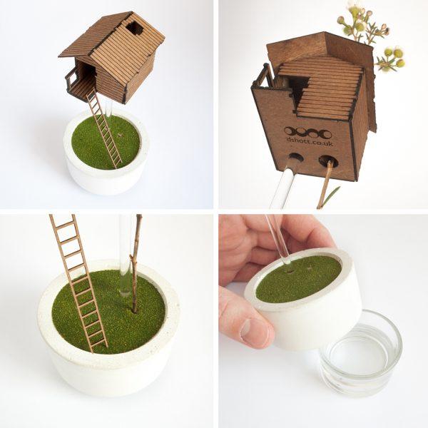Miniature Treehouse Vase for single flowers