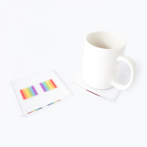 Rainbow Coasters In Use With Mug